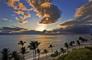 Sunset Over Kaanapali Beach  Resort Maui